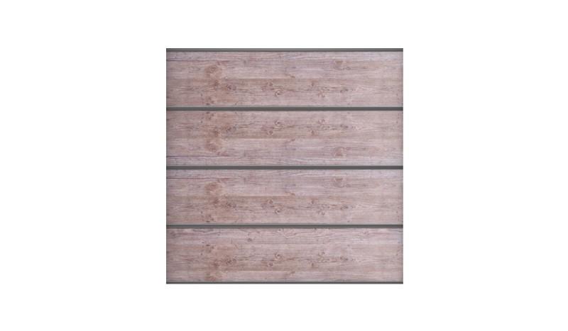 Bausatz aus 4 Lamellen, Distanzstücken, Lisenen, Zubehörset und Abschlussprofil für Roskilde Sichtschutzwand in Holzoptik