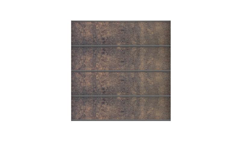 Komplettsatz Roskilde für ein 180 x 180 cm Zaunfeld bestehend aus 4 Lamellen Rostoptik, Abschlussprofil, Lisenen, Distanzstücken und Zubehörset
