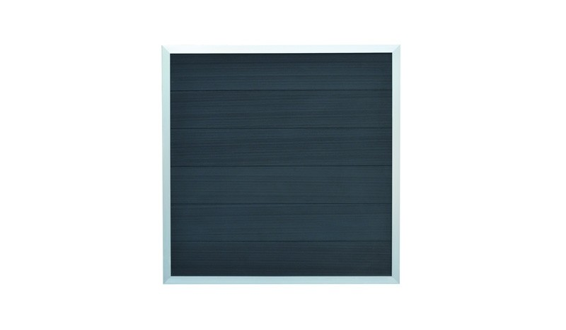 Zaunelemente Samso aus nachhaltigem WPC, Rahmen aus Aluminium. Farbe: Anthrazit