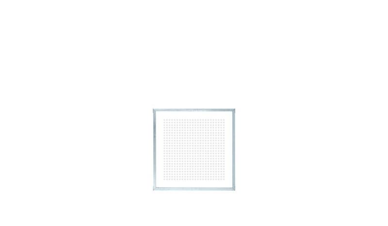Der moderne Rahmenzaun mit Siebdruck-Glasfüllung und 2 mm Rahmen aus verzinktem Stahl mit dem Maß  90 x 90 cm