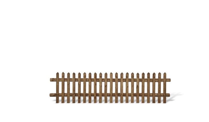 Senkrechtzaun aus brauner druckimprägnierter Kiefer/Fichte. 250x60cm. Lattenstärke: ca. 55 mm