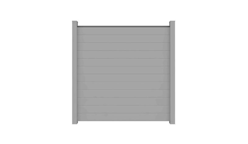 Der Alu Sichtschutz Jelling in der Farbe Silbergrau hat das Maß 180 x 180 x 2 cm.  Im Lieferumfang sind weder Abschlussprofile noch Pfosten enthalten.