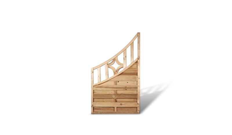 Holz Sichtschutz Zaun Abschlusselement mit Doppelbogen Rankgitter. 90x160/90cm