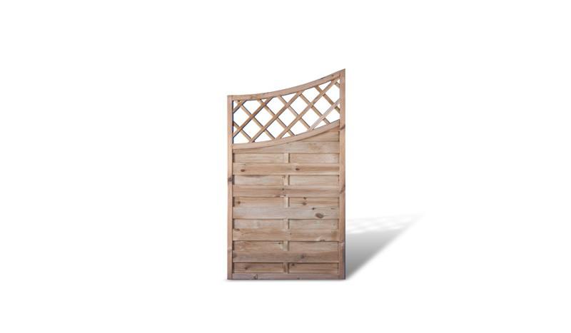 Ein Holzzaun mit einer Lamellenstärke von 8 x 95 mm und einem Maß von 90 x 160 auf 140cm