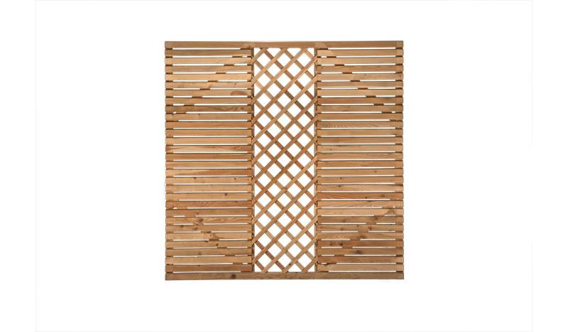 180 x 180cm Sichtschutz Rhombus mit Rangkitter, aus sibirische Lärche, mit Edelstahlschrauben verschraubt