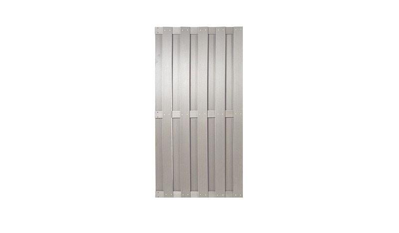 Sichtschutzelement WPC in silbergrauer Farbe, 90 cm Breite und 180 cm Höhe.