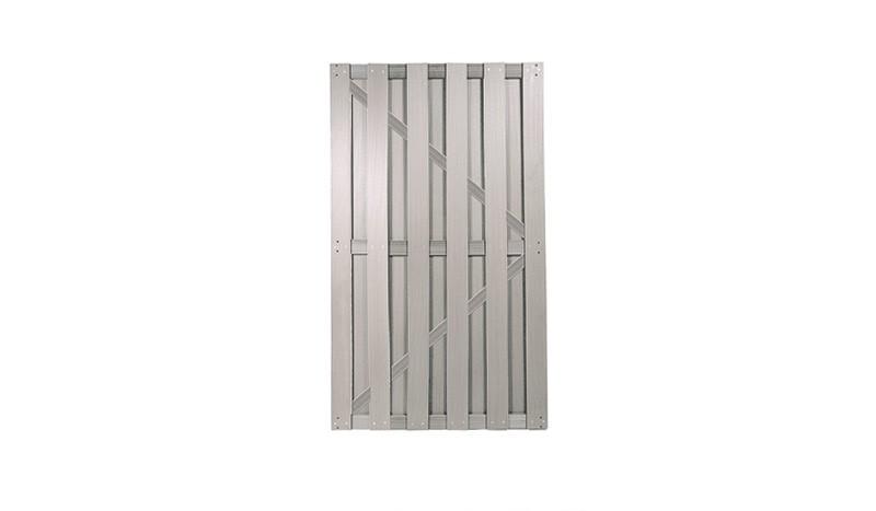 Sichtschutzelement WPC Tür in Silbergrau mit den Maßen 100 x 180cm.