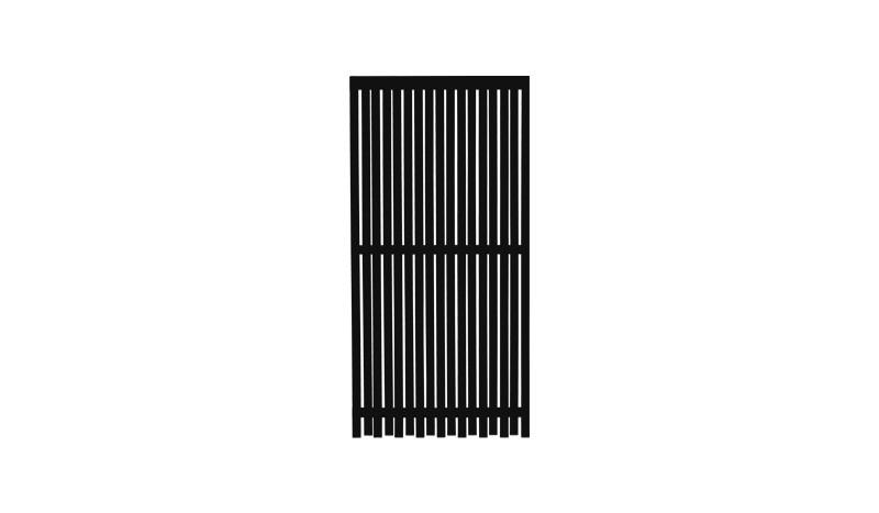 Wetterfester Holz Sichtschutzzaun in farbgrundiertem Schwarz. Lamellen sind mit rostfreien Schalgschrauben verarbeitet.