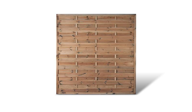 Der Bestseller: Das 180 x 180 cm große Holz Sichtschutzzaun aus der Serie Berlin Massiv mit einer Rahmenstärke von 45 x 45 mm