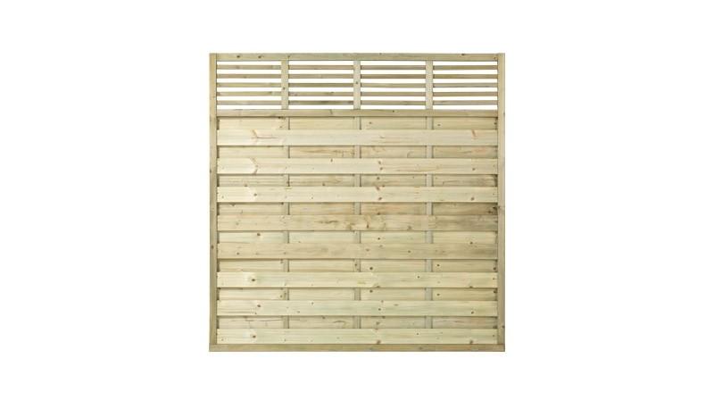 Der robuste Sichtschutzzaun Newline aus druckimprägniertem Kiefern- Fichtenholz. Maße: 180 x 180 cm.