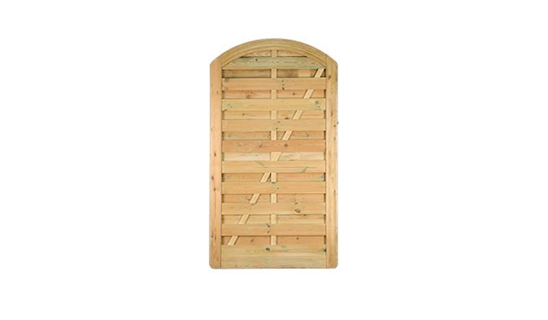 Die Sichtschutzzaun Tür für die Zaunserie Bremen mit einem Maß von 100 x 180 auf 160cm inkl. Einsteckschloss, PZ-vorgerichtet mit einem Dornenabstand von 90 mm