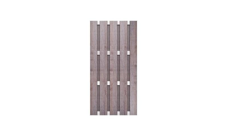 Sichtschutzzaun aus witterungsbeständigem HPL und Querriegeln aus rostfreiem Aluminium. Design: Holzoptik