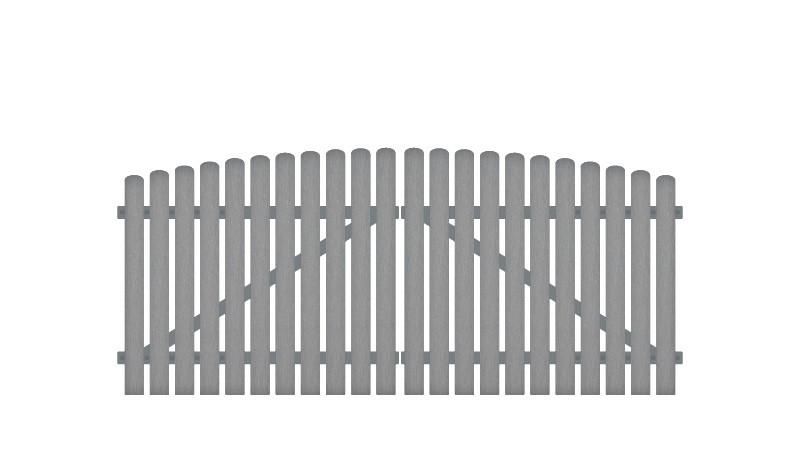 Wetterfestes Kunststoff Doppeltor mit Hochbogen, (RAL 7056), inkl. verstellbare Edelstahlbeschläge (6mm starke Ladenbänder vormontiert), Überwurf, Bodenriegel, Metallhülsen und Arretierung.