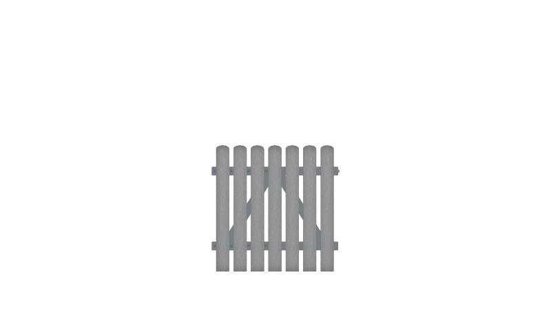 Wetterfeste Gartentore aus Kunststoff, 100 x 100 cm, grau (RAL 7056),  DIN-R, inkl. verstellbare Edelstahlbeschläge (6mm starke Ladenbänder vormontiert) und Überwurf