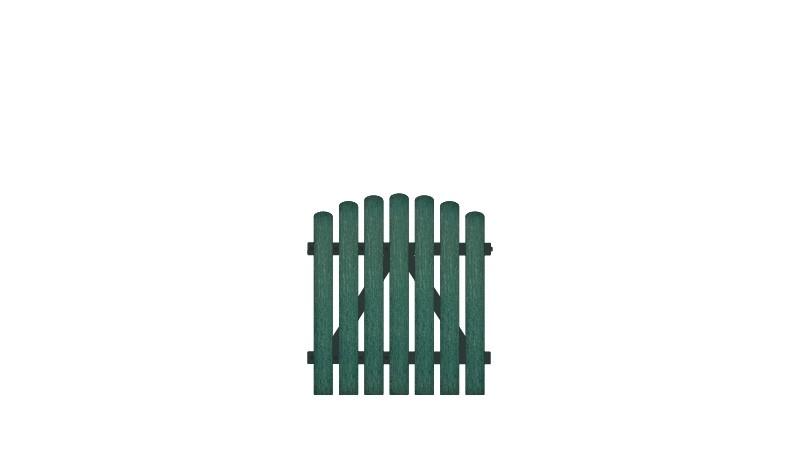 Kunststoffgartentore mit Vollkunstofflatten auf Aluminiumrahmen, 100 x 100 auf 110 cm, grün (RAL 6012),  DIN-R, inkl. verstellbare Edelstahlbeschläge (6mm starke Ladenbänder vormontiert) und Überwurf