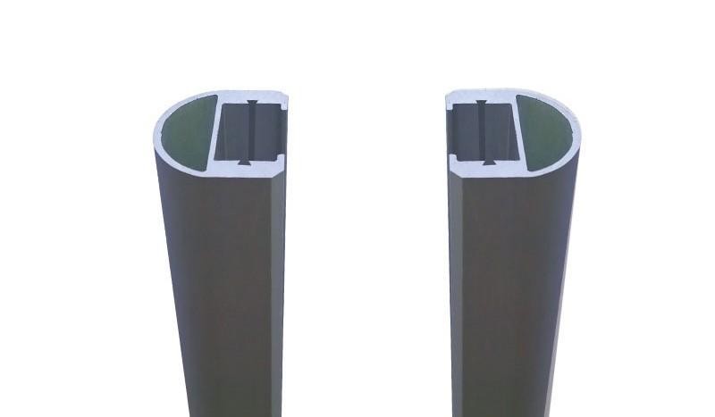 Der Bausatz für das Glaszaunsystem Als enthält 2 Aluminium-Leisten in Anthrazit (175 cm) und Dichtung
