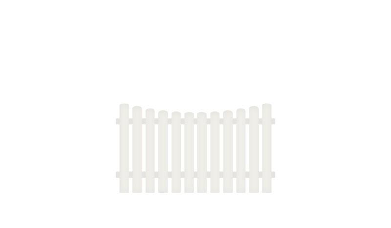 Pflegeleichter Kunststoffgartenzaun, 180 x 100 auf 90 cm, weiß (RAL 9016), Edelstahl verschraubt, inkl. Montageset und Bohrer