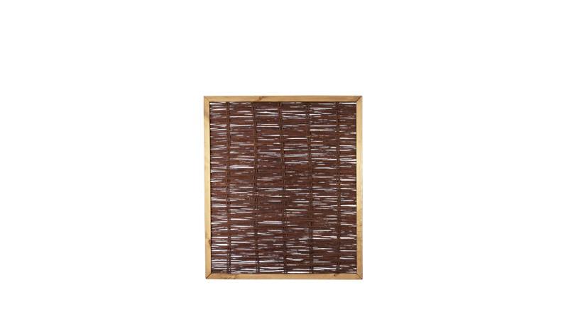 Sichtschutzzaun aus Weide mit einer Rahmenstärke von 35 x 45 mm