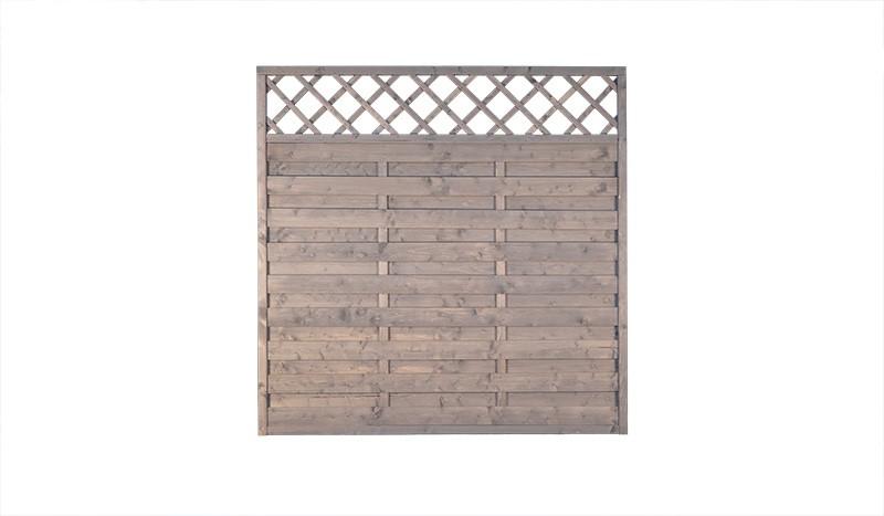 Wismar Zaunelement aus grau lasierter Kiefer/Fichte, mit Rankgitter. Maß: 180 x 180 cm