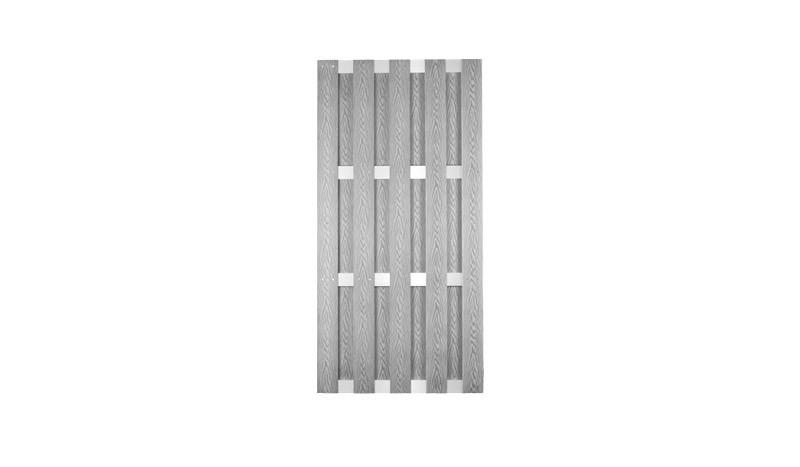 WPC Dichtzäune 90 x 180 cm in silbergrau, gefertigt aus 8 x 115 mm Vollprofilen und 15 x 70 mm Alu Querriegeln, Edelstahl verschraubt