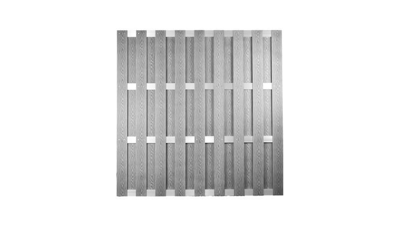 WPC Dichtzaun 180 x 180 cm in silbergrau, gefertigt aus 8 x 115 mm Vollprofilen und 15 x 70 mm Alu Querriegeln, Edelstahl verschraubt