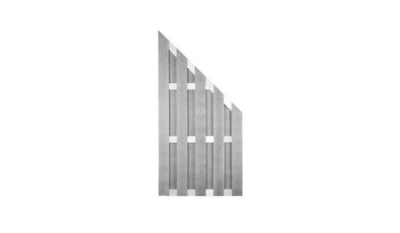 WPC Dichtzaun Abschluss 90 x 180 auf 90 cm in silbergrau, gefertigt aus 8 x 115 mm Vollprofilen und 15 x 70 mm Alu Querriegeln, Edelstahl verschraubt