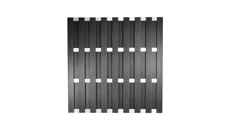 WPC Lamellenzaun 180 x 180 cm in anthrazit, mit 8 x 115 cm Vollprofilen aus WPC, Edelstahl verschraubt