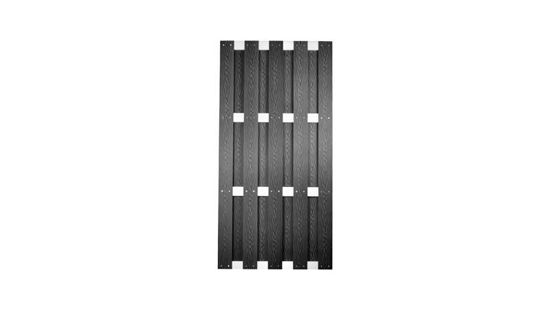 WPC Lamellenzaun 90 x 180 cm in anthrazit, mit 8 x 115 cm Vollprofilen aus WPC, Edelstahl verschraubt