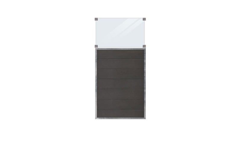 Ein Zaunelement inkl. Glaseinsatz aus der Zaunserie Futura. Glas: 6 mm Sicherheitsglas, Höhe 53 cm inkl. Beschäge