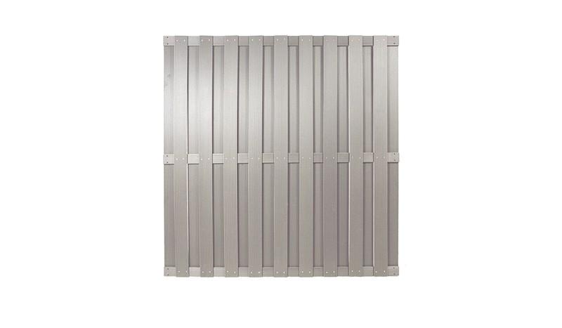 WPC Sichthschutzelemente in silbergrau mit dem Maß 180 x 180cm.