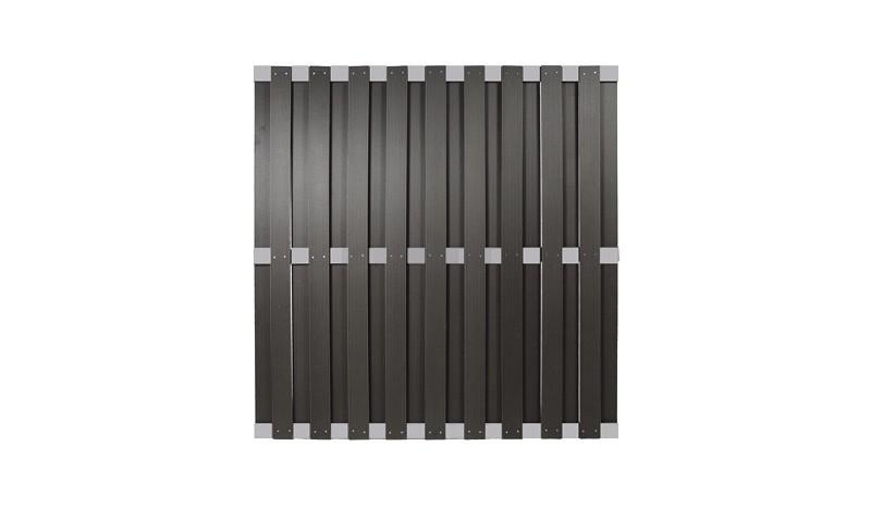 WPC Zaunelement 180 x 180 cm, anthrazit mit einem Zaunriegel aus Alu