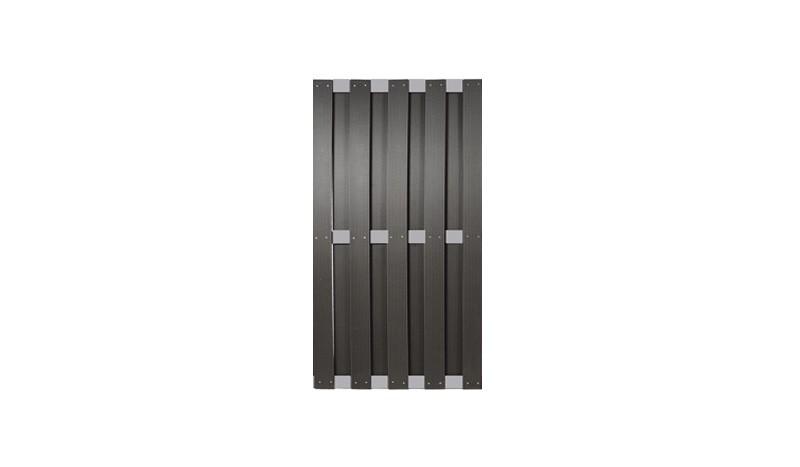 WPC Zaunelemente mit dem Maß 90 x 180cm, in anthrazit aus 12 x 100 mm WPC Profilen mit Zaunriegel aus Alu