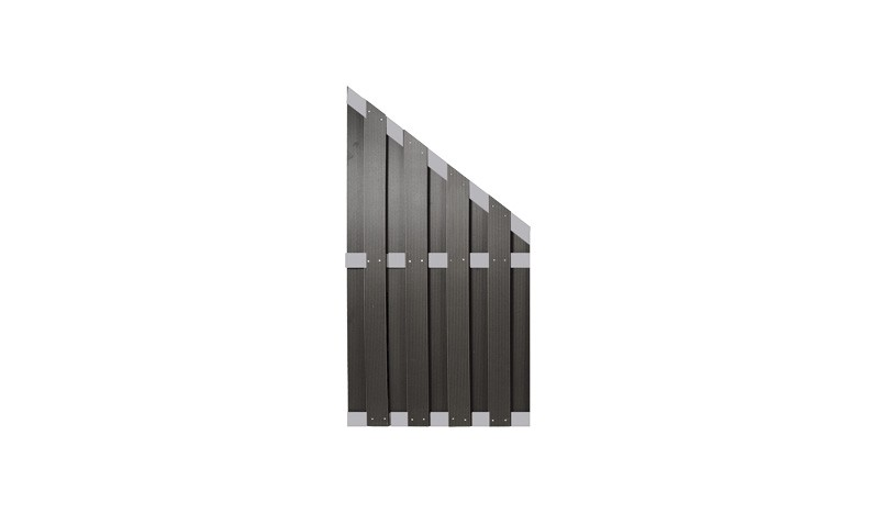 WPC Zaunabschluss 90 x 180 auf 90cm, anthrazit, mit Zaunriegeln aus Alu