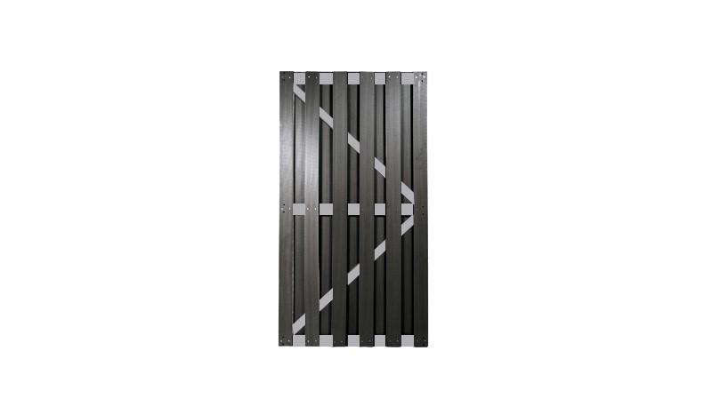 WPC Zauntor mit Aluminiumstreben und WPC Hohlkammerprofilen mit dem Maß 90 x 180cm