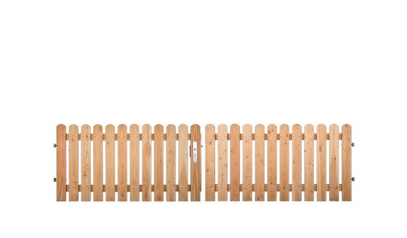 300 x 80cm Zaun Doppeltor mit 20 x 95 mm Zaubrettern, 2-Flg., 4 x 4cm Alurahmen inkl. Schlosskasten, Bänder, Rolle und Bodenschieber. PZ bauseitig. Sibirische Lärche, Edelstahl verschraubt