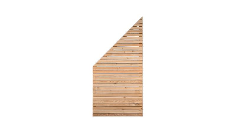 Zaun Rhombus Abschlusselement mit 90cm Breite x 90cm Höhe (Linke Seite) auf 180cm (Rechte Seite), Sibirische Lärche, Edelstahl verschraubt