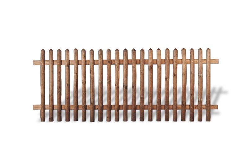 Senkrechtzaun aus brauner druckimprägnierter Kiefer/Fichte. 250x150cm. Lattenstärke: ca. 55 mm